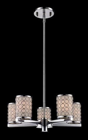 Z-Lite 199-5 Synergy Collection Chrome/Matte Opal Finish 5 Light Chandlier - ZLiteStore