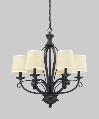 Z-Lite 2001-6 Charleston Collection Crème/Matte Back Finish 6 Light Chandelier - ZLiteStore