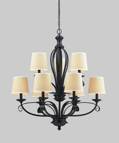 Z-Lite 2001-9 Charleston Collection Crème/Matte Back Finish 9 Light Chandelier - ZLiteStore