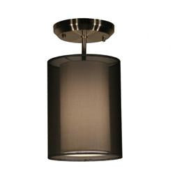 Z-Lite Nikko Collection Brushed Nickel/Black Finish One Light Semi Flush Mount - ZLiteStore
