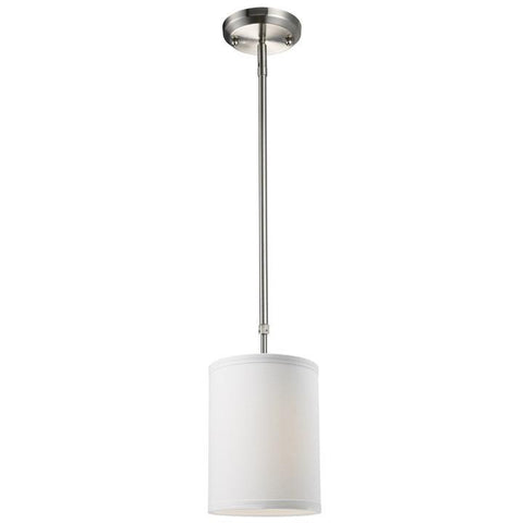Z-Lite Albion Collection White/Brushed Nickel Finish One Light Mini Pendant - ZLiteStore