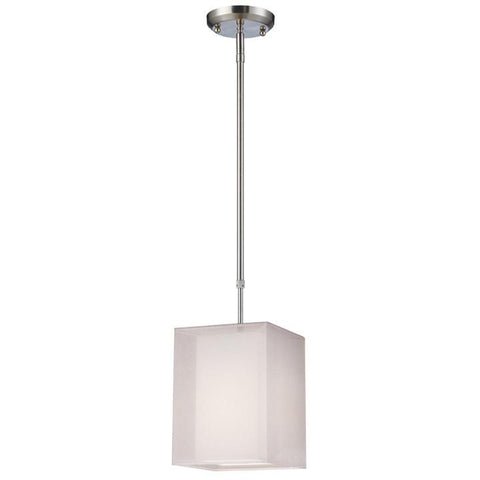 Z-Lite Nikko Collection Brushed Nickel/White Finish One Light Mini Pendant - ZLiteStore