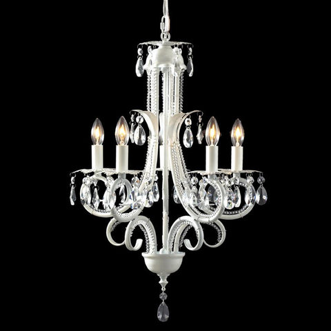 Z-Lite Parisian Crystal Chand. Collection White Finish Five Light Crystal Chandelier - ZLiteStore