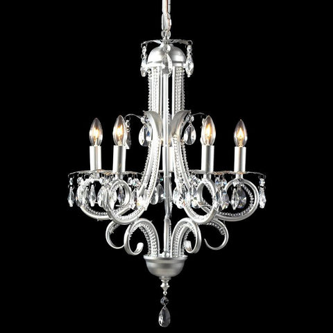 Z-Lite Parisian Crystal Chand. Collection Silver Finish Five Light Crystal Chandelier - ZLiteStore