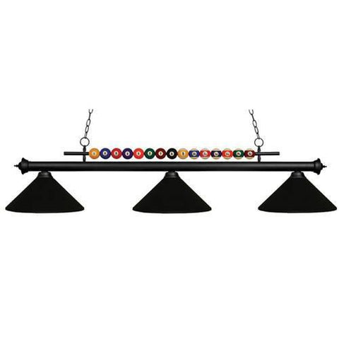 Z-Lite Shark Collection Matte Black Finish Three Light Billiard - ZLiteStore