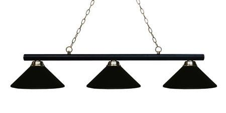 Z-Lite Sharp Shooter Collection Matte Black/Brushed Nickel Finish Three Lights Billiard - ZLiteStore