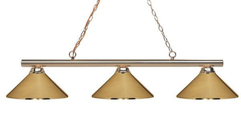 Z-Lite Sharp Shooter Collection Polished Brass Finish Three Lights Billiard - ZLiteStore