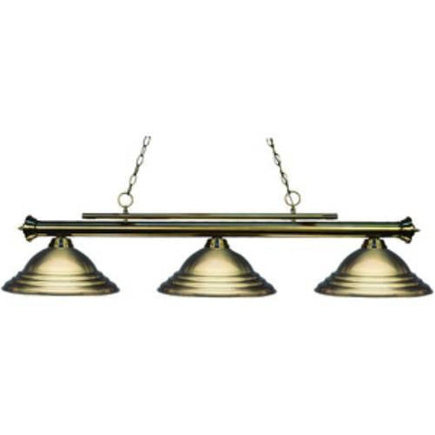 Z-Lite Players Collection Antique Brass Finish Three Light Billiard - ZLiteStore