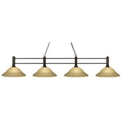 Z-Lite Challenger Collection Bronze Finish Four Light Billiard - ZLiteStore