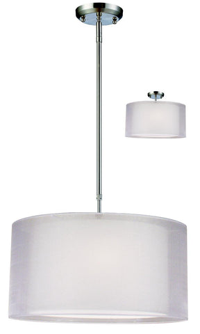 Z-Lite Nikko Collection Brushed Nickel/White Finish Three Light Semi Flush Mount - ZLiteStore