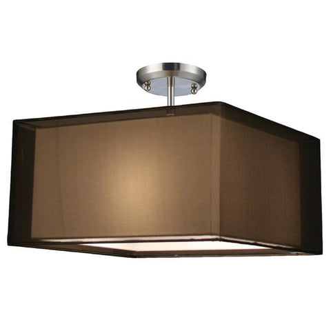 Z-Lite Nikko Collection Brushed Nickel/Black Finish Three Light Semi Flush Mount - ZLiteStore