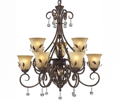 Z-Lite Coventry Collection Antique Gold Finish Ten Light Crystal Chandelier - ZLiteStore