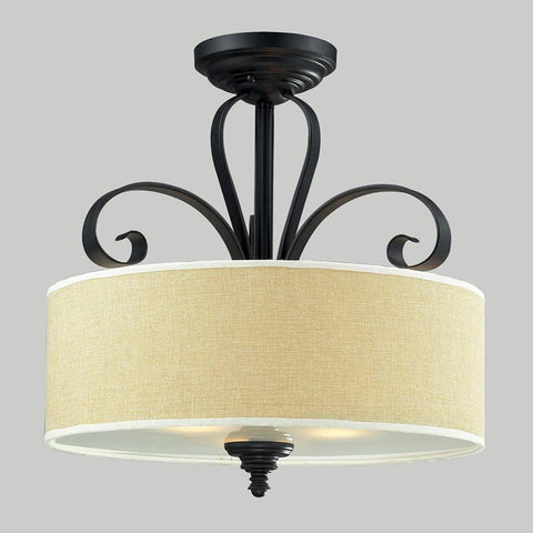 Z-Lite 2001SF Charleston Collection Crème/Matte Back Finish 3 Light Semi-Flush Mount - ZLiteStore