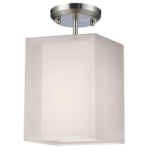 Z-Lite Nikko Collection Brushed Nickel/White Finish One Light Semi Flush Mount - ZLiteStore