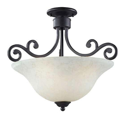 Z-Lite Windsor Collection Matte Black Finish 3 Light Semi Flush Mount - ZLiteStore
