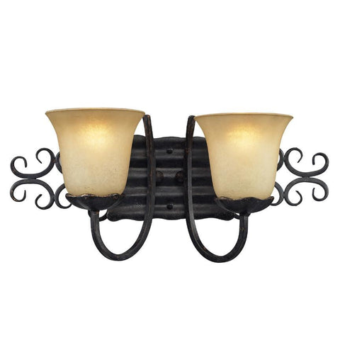 Z-Lite Spanish Forge Collection Black/Antique Gold Finish Two Light Vanity - ZLiteStore