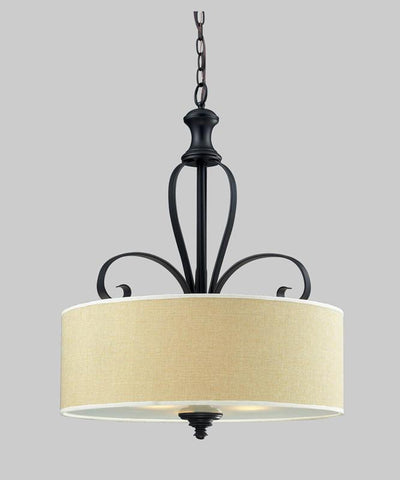 Z-Lite 2001P Charleston Collection Crème/Matte Back Finish 3 Light Pendant - ZLiteStore