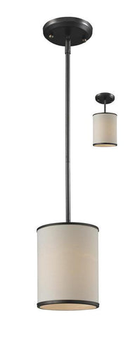 Z-Lite 165-6 Cameo Collection Crème/Bronze Finish 1 Light Convertible Pendant - ZLiteStore