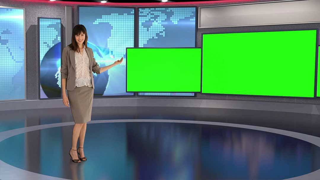 Contemporary Virtual News Set HD [All Angles 1 - 5]