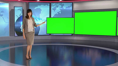 Contemporary Virtual News Set HD [All Angles 1 - 5] - Virtual Set Lab