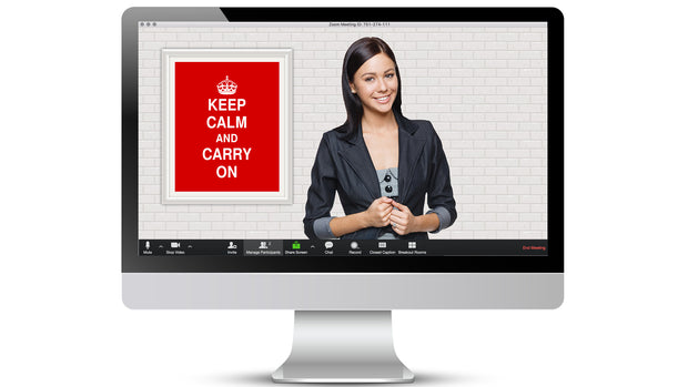 FREE Keep Calm & Carry On Zoom / Online Meeting Virtual Background - Virtual Set Lab