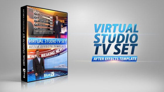 Virtual Studio TV set After Effects Template by BlueFX