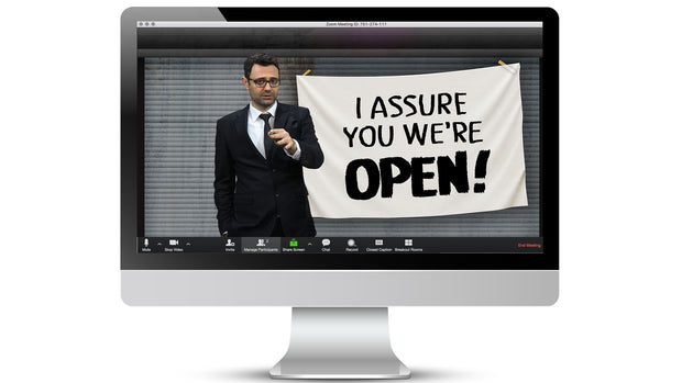 We're Open! Zoom / Online Meeting Virtual Background - Virtual Set Lab