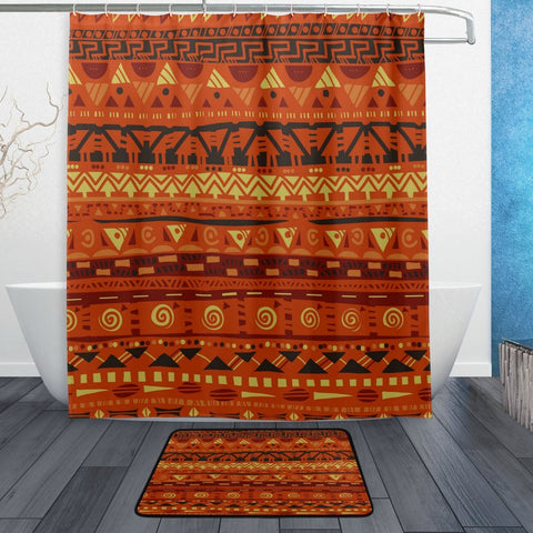 Egyptian Cloth Shower Curtain and Mat Set