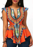 Asymmetric Printed Blouse with Hem Cap Sleeve - Orange
