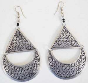 African Boho Style Earrings - Silver