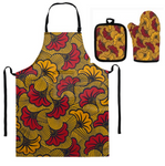 African Floral Print Apron, Oven Mitt and Pot Holder Set (Yellow-Red)