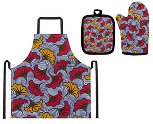 African Floral Print Apron, Oven Mitt and Pot Holder Set (White, Red and Yellow)