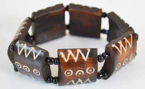 African Tribal Engraved Bone Bracelet with Elastic