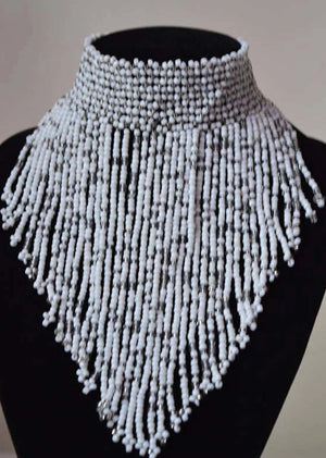African Beaded Choker Necklace - White