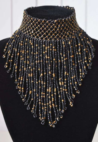 African Beaded Choker Necklace - Black