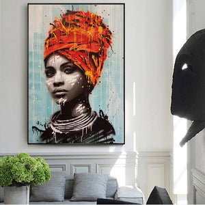 African Queen In Red-Orange Head Wrap (Canvas - Unframed)