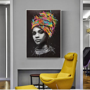 African Queen In Multi-Colored Head Wrap (Canvas - Unframed)