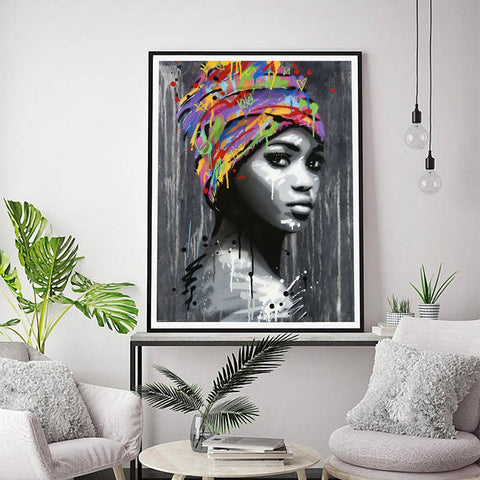 African Queen In Multi-Colored Head Wrap II (Canvas - Unframed)