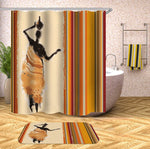 African Water Jug Carrier Shower Curtain and Mat Set