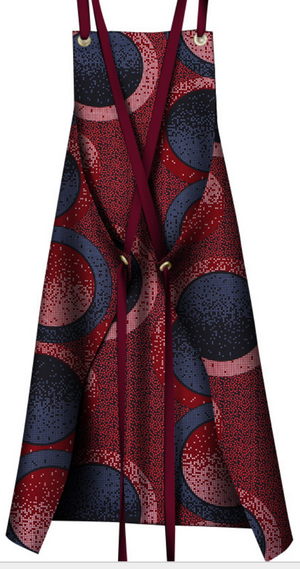 Afrocentric Print Apron - Burgundy/Blue