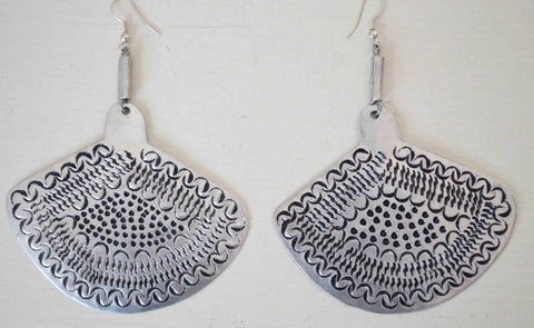 Afrocentric Handcrafted Fan Shaped Metal Earrings - Silver