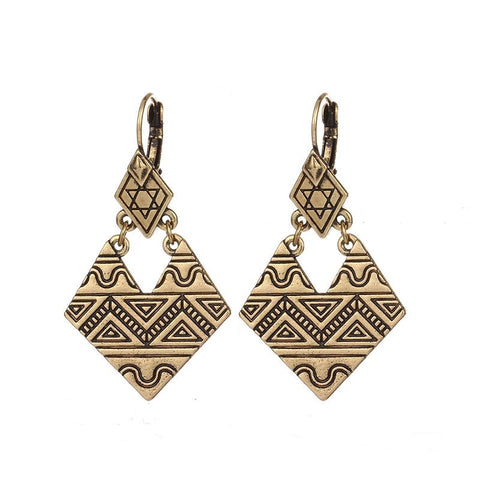 Afrocentric Drop Angled Earrings - Gold