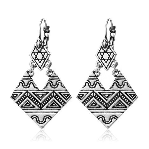 Afrocentric Drop Angled Earrings - Silver