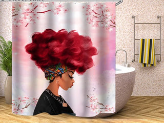 Afrocentric Woman Shower Curtain - Mauve Tones