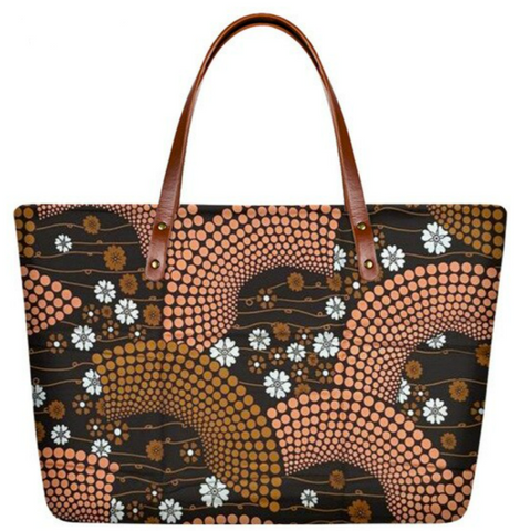 Ankara Print Handbag  (Brown-Beige)