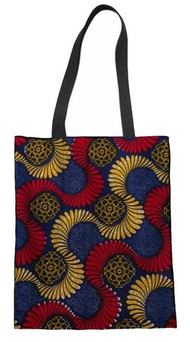 Ankara Print Tote Bag  (Red-Blue-Lt. Orange)