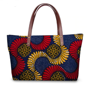 Ankara Print Handbag  (Blue-Red-Lt. Orange)