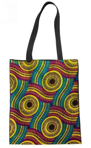 Ankara Print Tote Bag  (Yellow-Teal-Violet)
