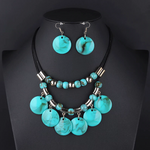 Beaded Round Pendant Collar Necklace Set - Coral Blue