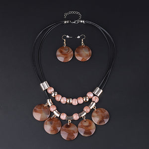 Beaded Round Pendant Collar Necklace Set - Brown